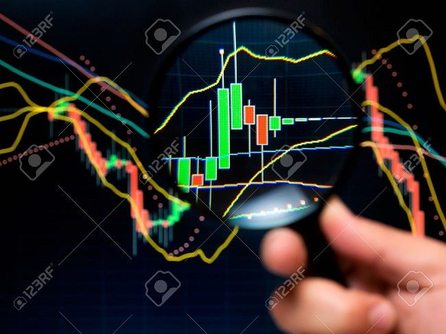 8378281 Magnifier and graph basic tools of technical analysis on the stock market Stock Photo - مرجع آموزش بورس