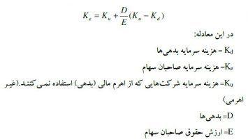 معادله هزینه سرمایه معادله هزینه سرمایه